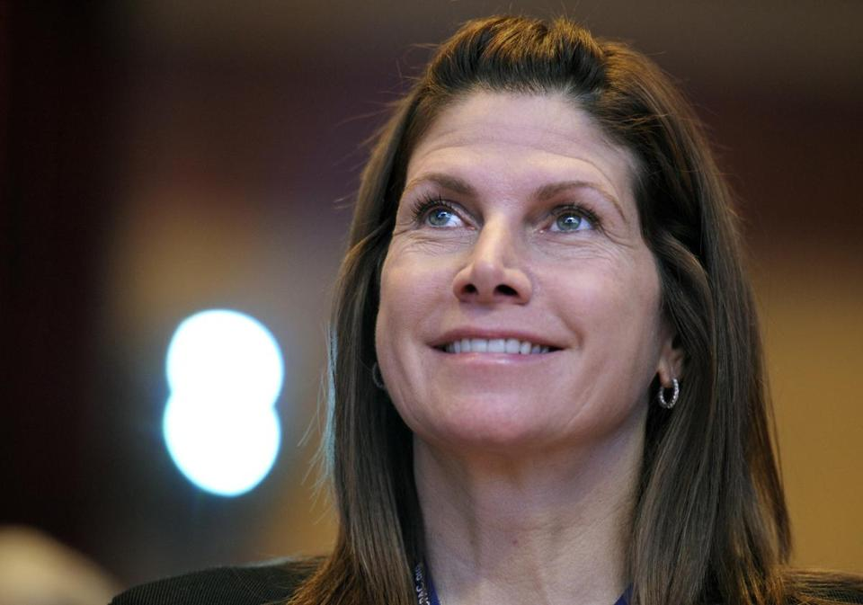 FILE - In this Feb. 12, 2011, file photo, then-Rep. Mary Bono, R-Calif., listens at the Conservative Political Action Conference (CPAC) in Washington. Former California Congresswoman Bono announced her resignation Tuesday, Oct. 16, 2018, as the interim president at USA Gymnastics after just four days on the job. (AP Photo/Cliff Owen, File)