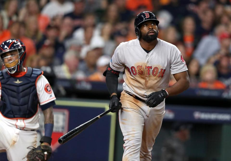 Houston TX 10/17/18: Red Sox Jackie Bradley Jr. hits a two run home run in the sixth inning. Houston Astros hosted Boston Red Sox in Game Four of ALCS at Minute Maid Park Wednesday, Oct. 17, 2018. (Jim Davis/Globe Staff)
