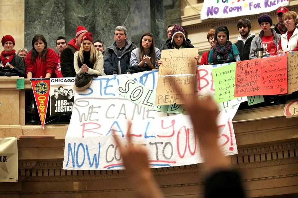 In February of 2011, demonstrators occupied the rotunda of the capitol building in Madison, Wisc., to protest Governor Scott Walker's attempt to push through a bill to restrict collective bargaining for most government workers.