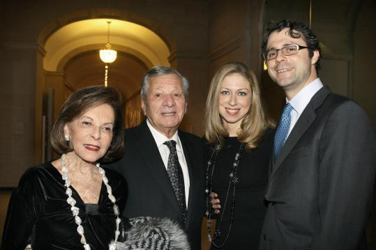 Gerald Schuster, (center) and his wife, Elaine, joined Chelsea Clinton and husband, Marc Mezvinsky, at the Big Sister Association gala at the Museum of Fine Arts in 2011.
