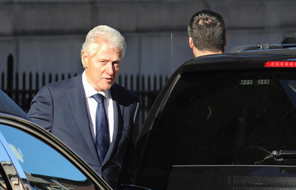 Bill Clinton, the former president, was among those attending Sunday's memorial service for Mr. Schuster.