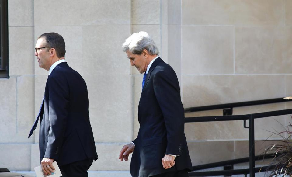 Former secretary of state and US senator John Kerry also attended the service.