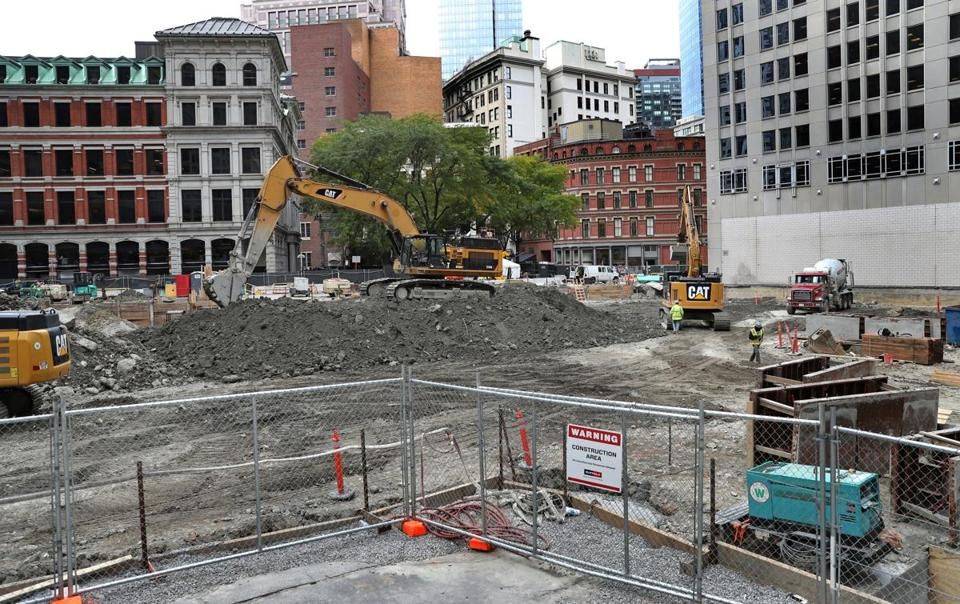 Excavation at the site of  Winthrop Center was underway Tuesday.