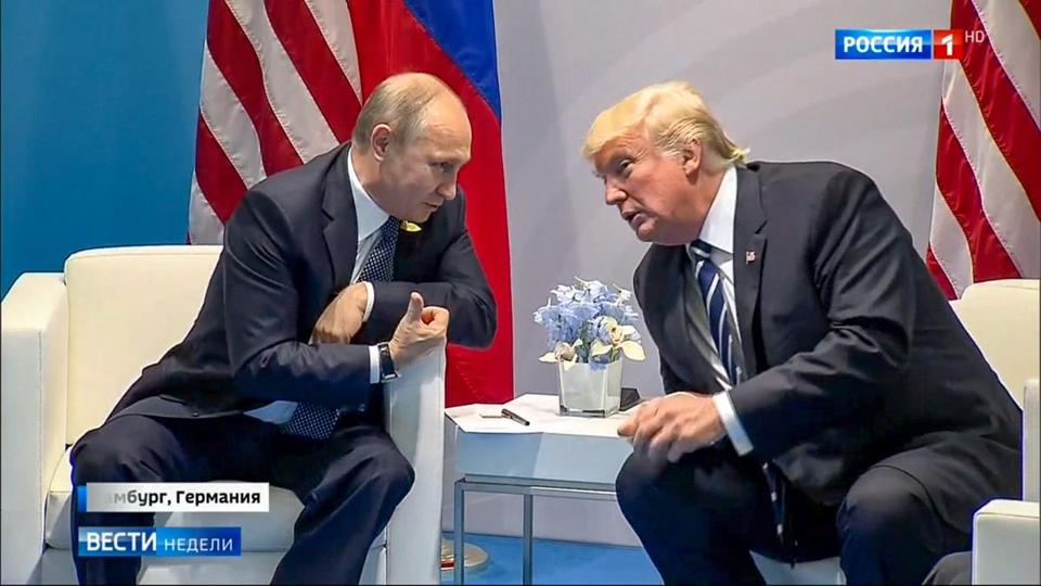"President Trump and Vladimir Putin in a scene from ""Our New President."""