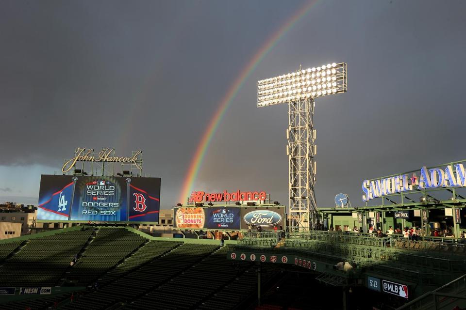 A rainbow over Fenway Park.