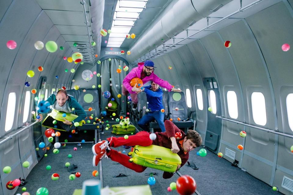 "A scene from OK Go's ""Upside Down and Inside Out"" video."