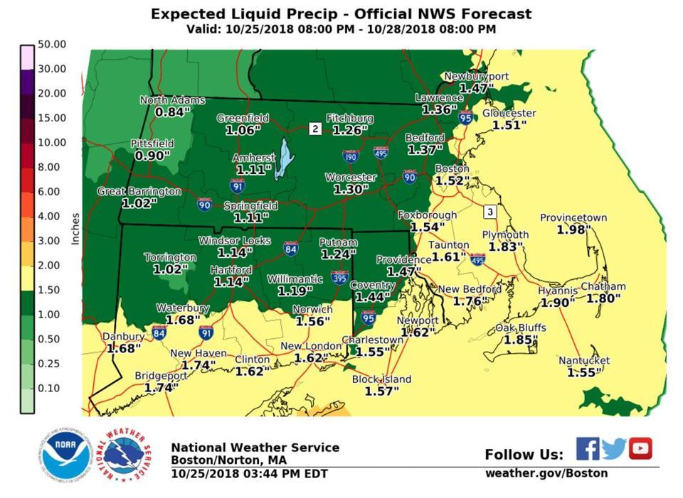 Rain will average 1-2 inches Saturday through Sunday.