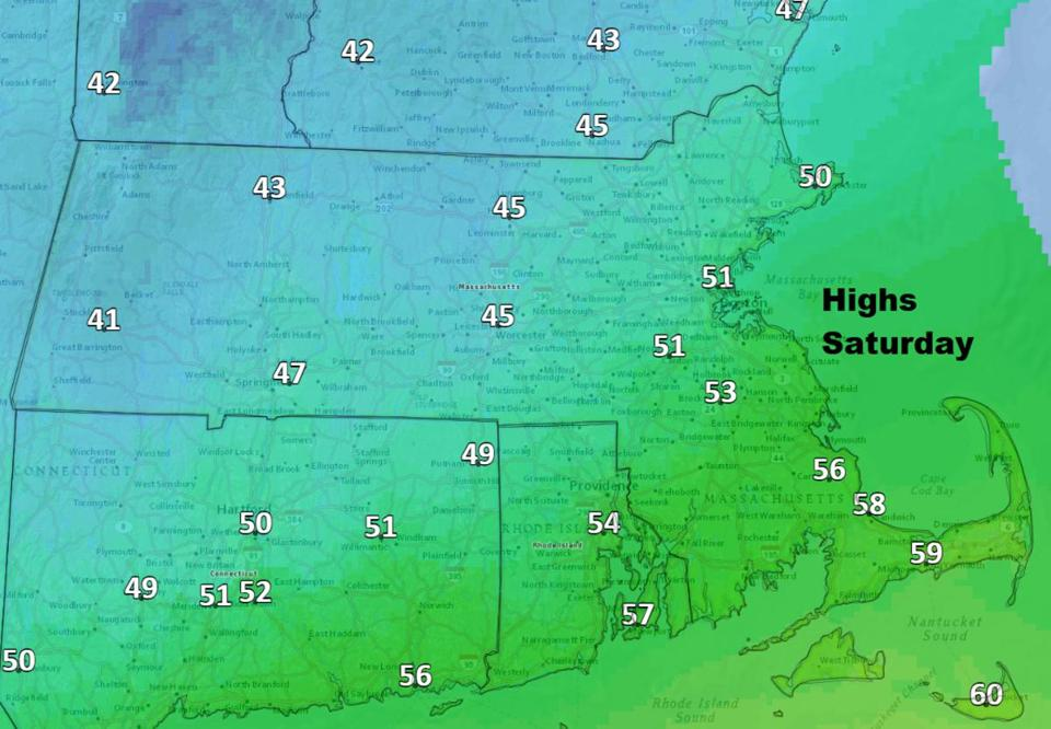 Saturday will be cool and humid.