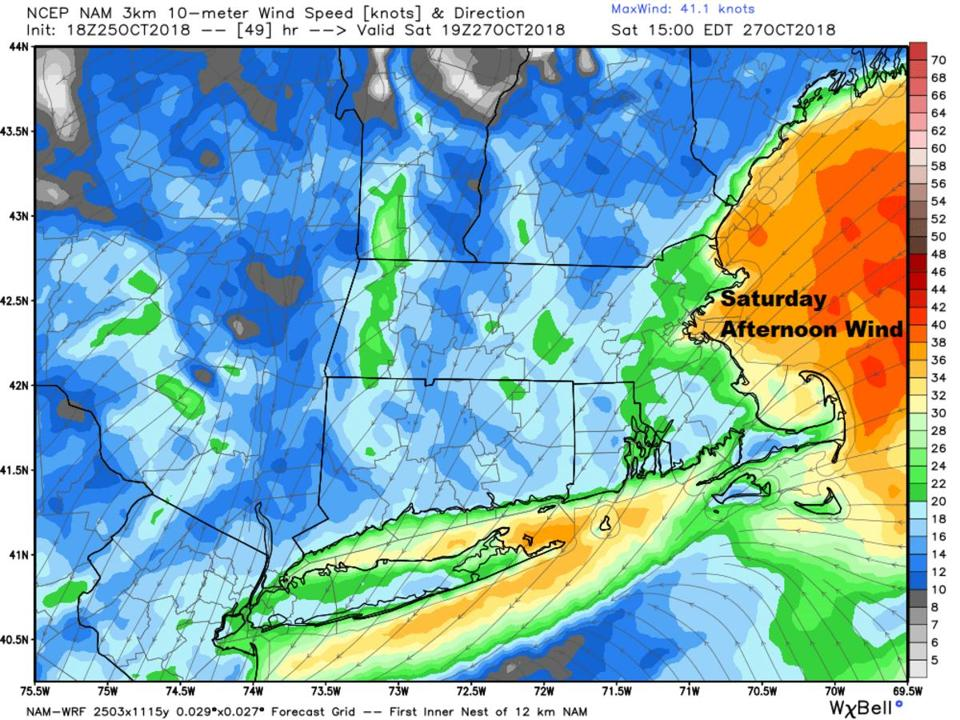 The strongest wind will be offshore on Saturday night, but the coast will be gusty.