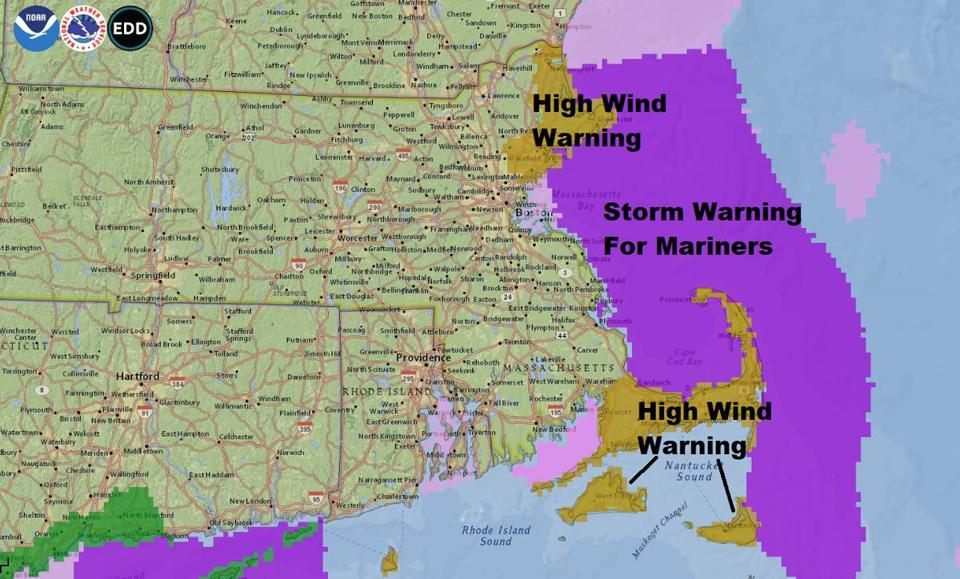 A strong wind Saturday for Cape Ann and Cape Cod and the islands issued a warning.