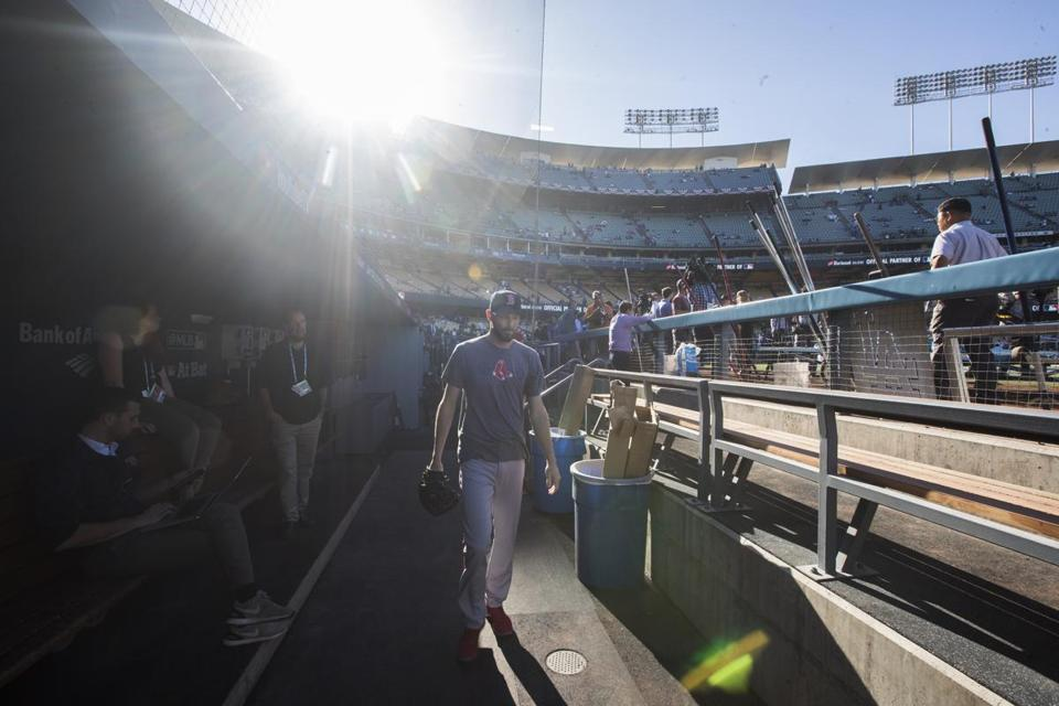 A view from the visitors' dugout at Dodger Stadium.