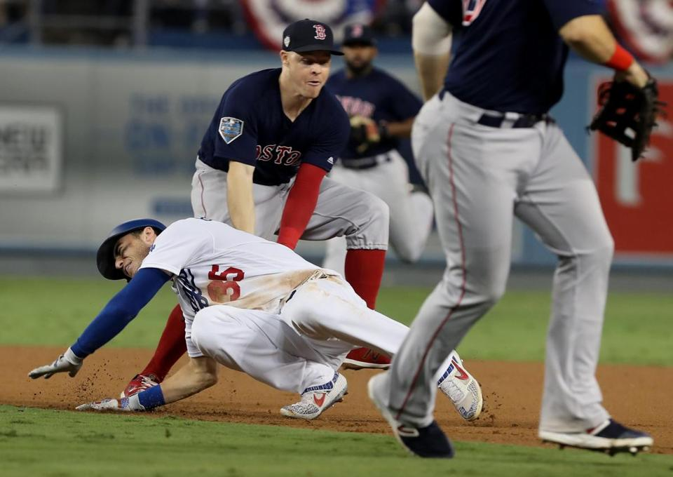 Brock Holt tagging Cody Bellinger.