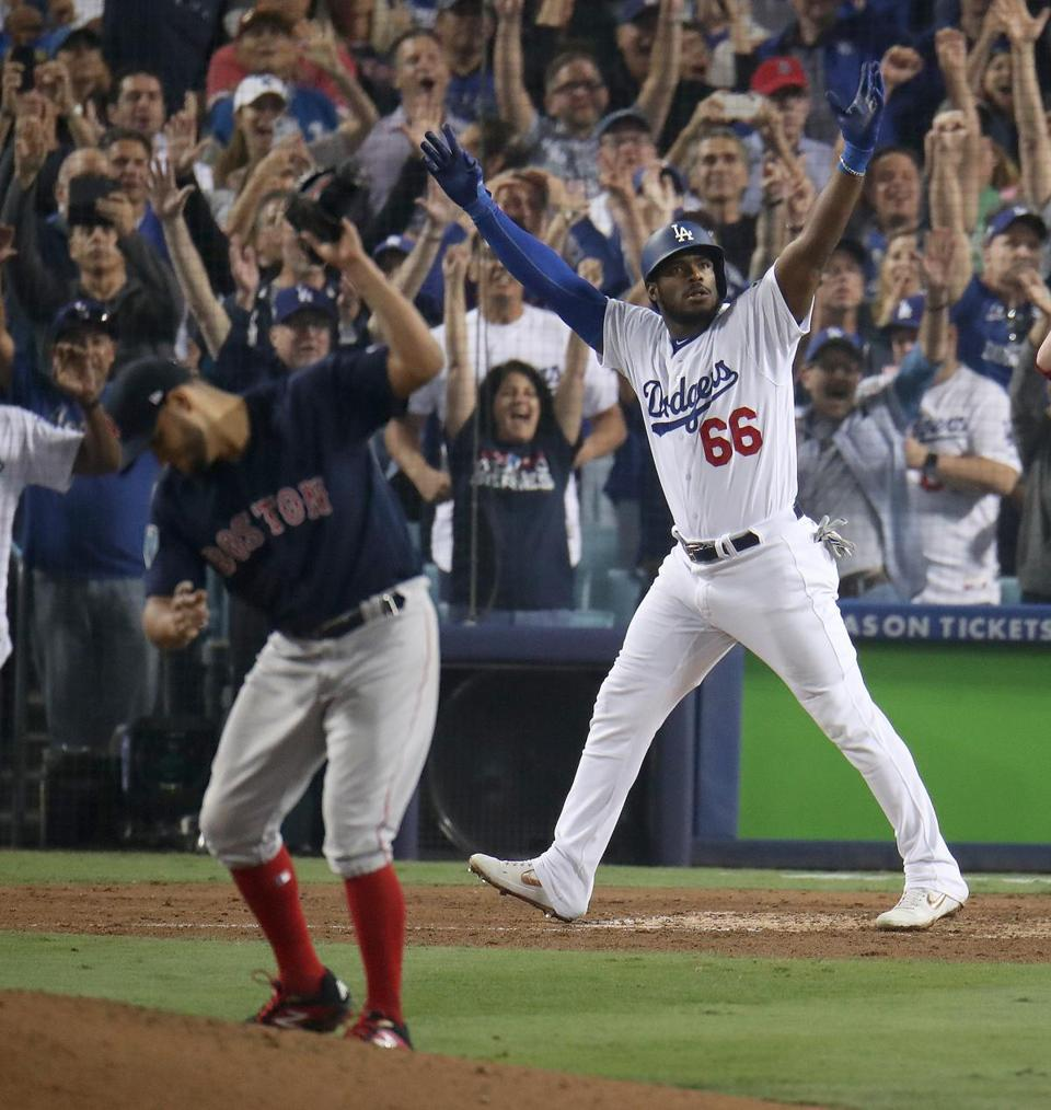 Yasiel Puig celebrated his three-run home run while Eduardo Rodriguez threw his glove to the ground in the sixth inning.