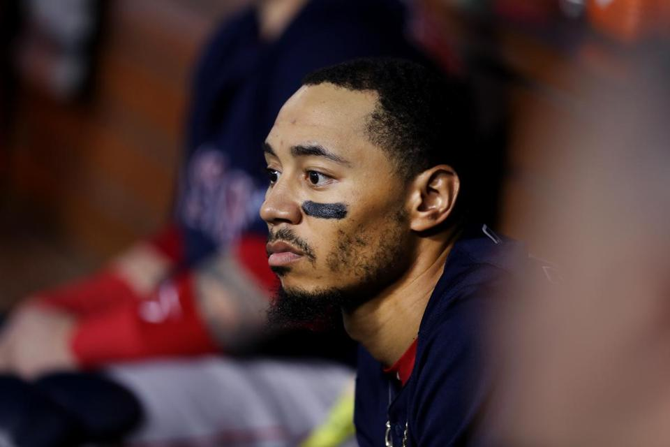 Mookie Betts in the dugout during the fourth inning.