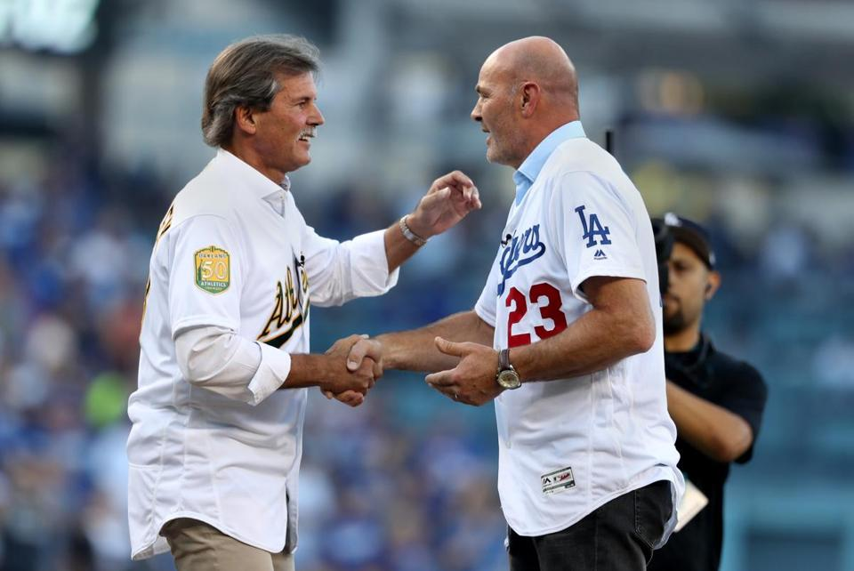 Dennis Eckersley and Kirk Gibson before Game 4 .