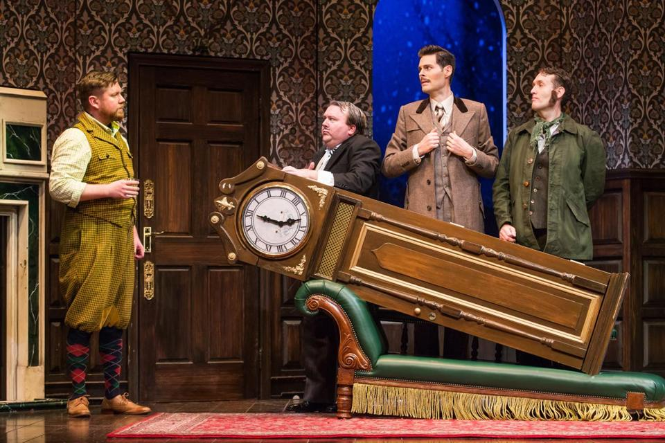 "From left: Peyton Crim, Scott Cote, Evan Alexander Smith, and Ned Noyes in ""The Play That Goes Wrong."""