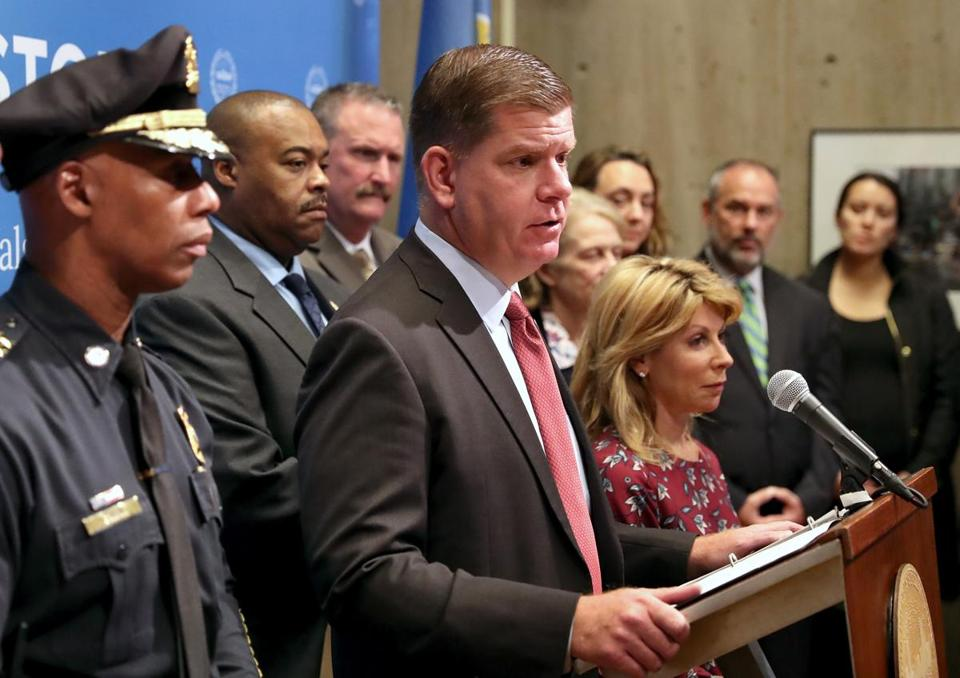 In an interview, Mayor Martin Walsh (center) stressed the public works yard's potential given its proximity to the MBTA's Red Line and to downtown.