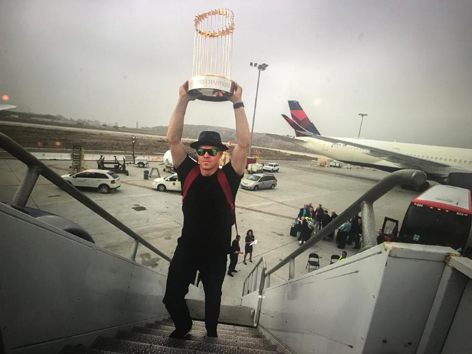 Brock Holt, the Sox versatile veteran, made sure a bit of hardware did not get left behind at Los Angeles International Airport Monday.