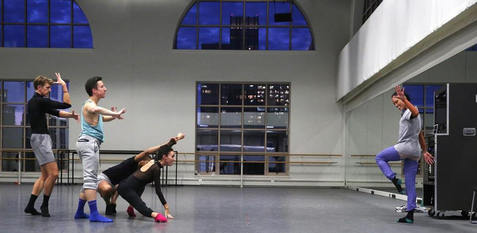 "Boston Ballet dancer/choreographer Lia Cirio (right) rehearses her piece ""Sta(i)r(e)s"" with dancers (from left) Matthew Slattery, Daniel Cooper, Lawrence Rines, and Maria Alvarez."