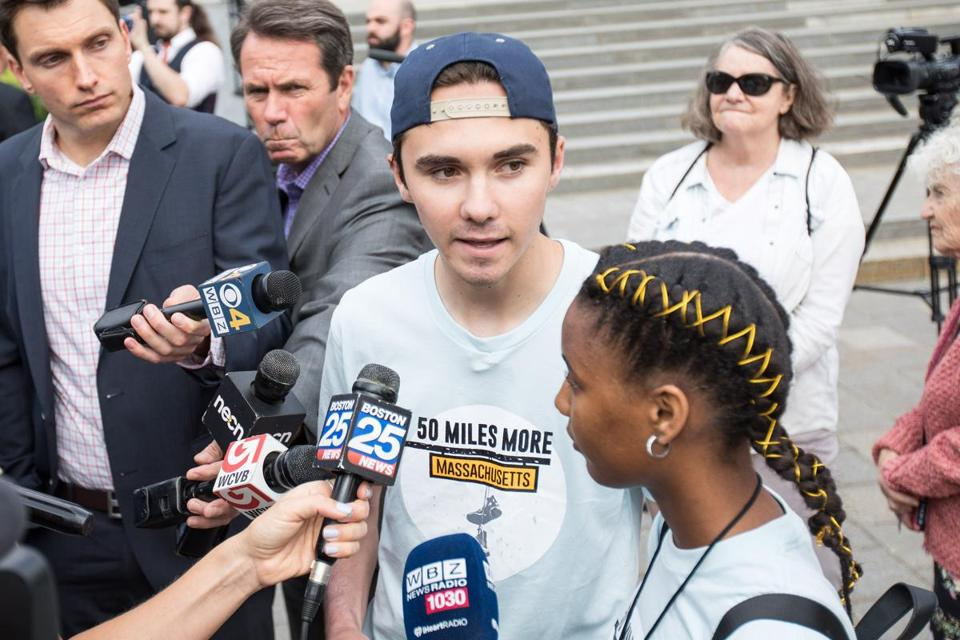 WORCESTER, MA - AUGUST 23: David Hogg, Parkland shooting survivor and activist givess an interview before the kick off of the 50 Miles More walk against gun violence which will end with a protest at the Smith and Wesson Firearms factory on August 23, 2018 in Worcester, Massachusetts. After the Parkland, Florida mass shooting, 50 Miles More was organized to engage young people in the effort to bring about gun reform legislation. (Photo by Scott Eisen/Getty Images)