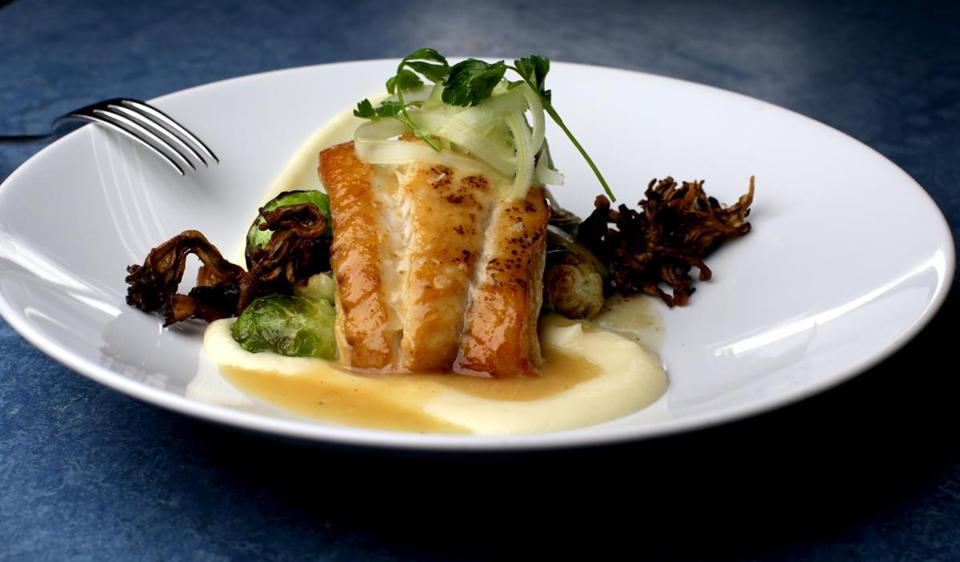 11/02/2018 Boston Ma- Atlantic Blue Cod al Limon with parsnip Puree, Seared Brussels Sprouts and Crispy Mushroom at Barbara Lynch 's B&G Restaurant. .Jonathan Wiggs /Globe Staff Reporter:Topic: