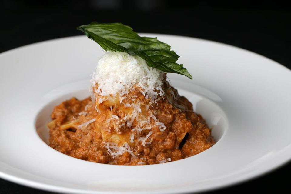 11/02/2018 Boston Ma- Tagliatelle Bolognese with Housemade Pasta, Parmigiano, and fried Basil at Barbara Lynch's Restaurant the Butcher Shop. Jonathan Wiggs /Globe Staff Reporter:Topic: