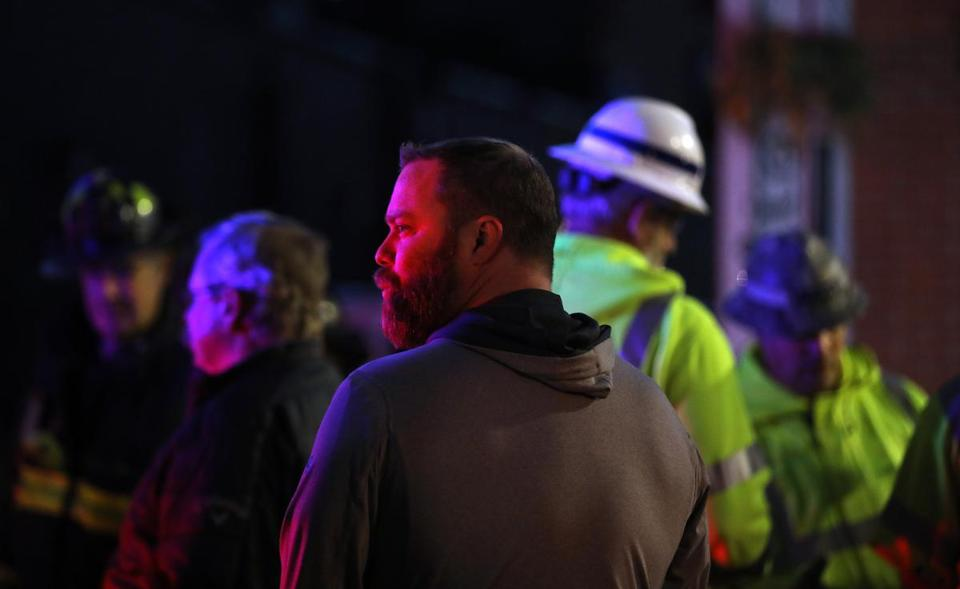 Boston, MA - 11/4/18 - Bob O'Guin, owner of Common Ground, looks at the scene after building facades collapsed onto the sidewalk on Harvard Avenue in Allston causing injuries. Photo by Pat Greenhouse/Globe Staff Topic: 005buildingMetro Reporter: John Hilliard, Jerome Campbell