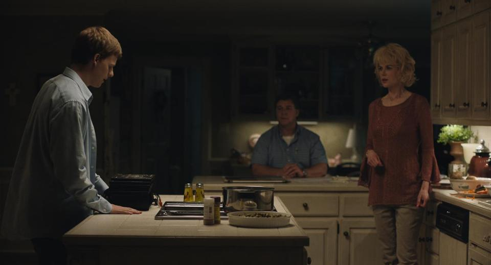 "Lucas Hedges (left), Russell Crowe, and Nicole Kidman in ""Boy Erased."""