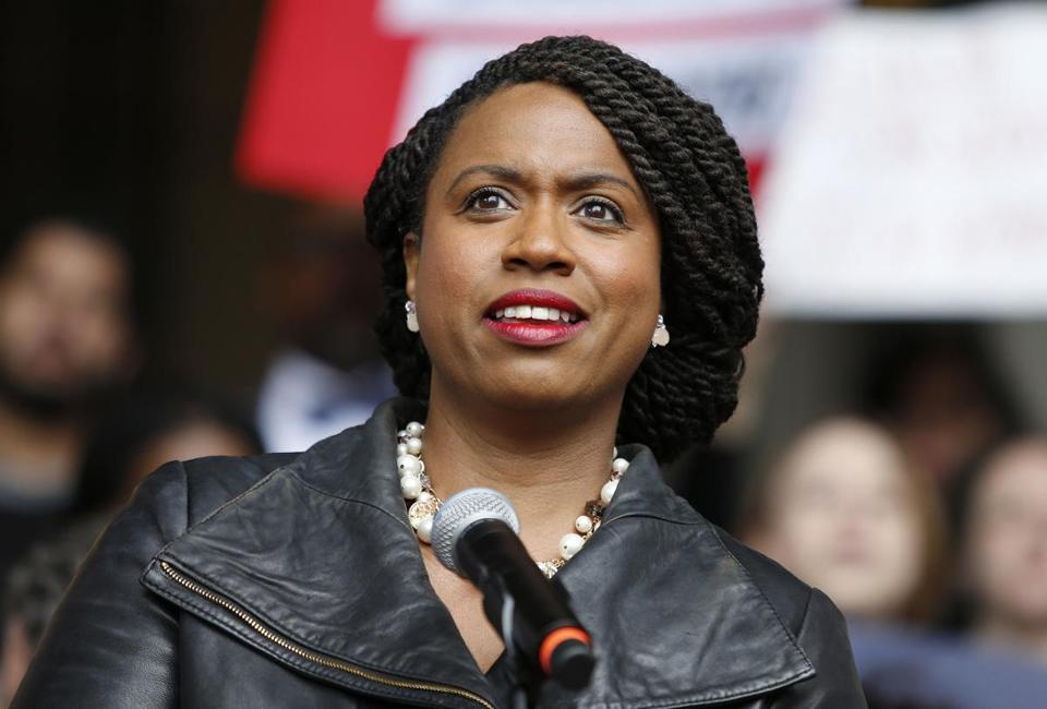 FILE - In this Oct. 1, 2018 file photo, Boston City Councilor Ayanna Pressley speaks at a rally at City Hall in Boston. On Nov. 6, Pressley became Massachusetts' first black woman elected to the U.S. House of Representatives. (AP Photo/Mary Schwalm, File)