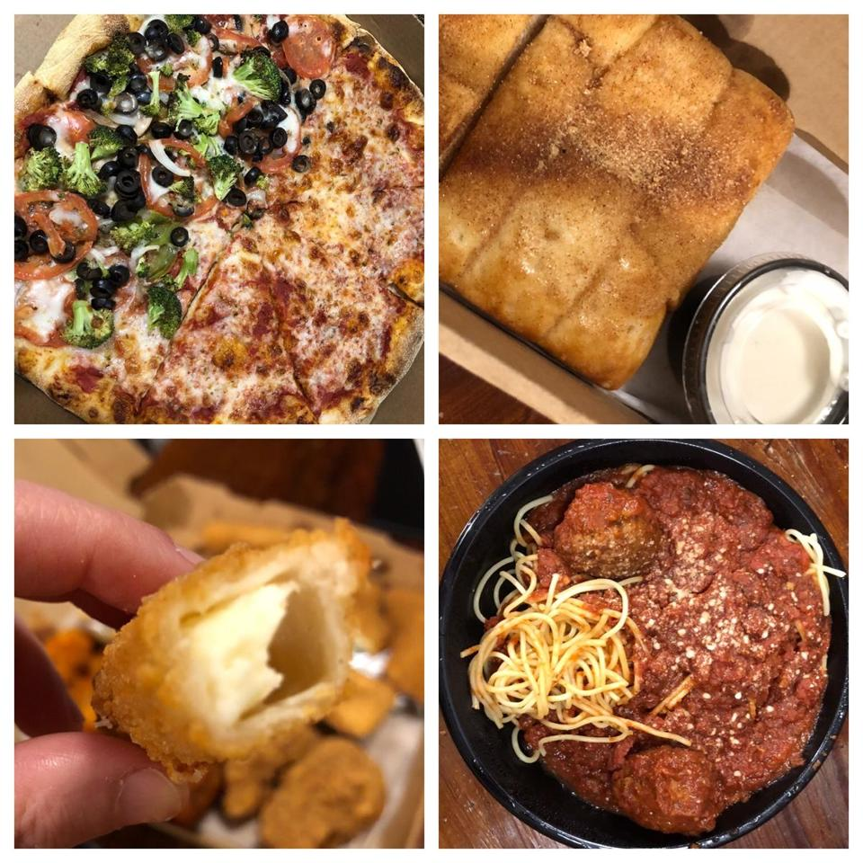 Clockwise from top left: a large half-cheese, half-Super Veggie pizza; cinnamon sticks and dip; spaghetti and meatballs; a mozzarella stick.
