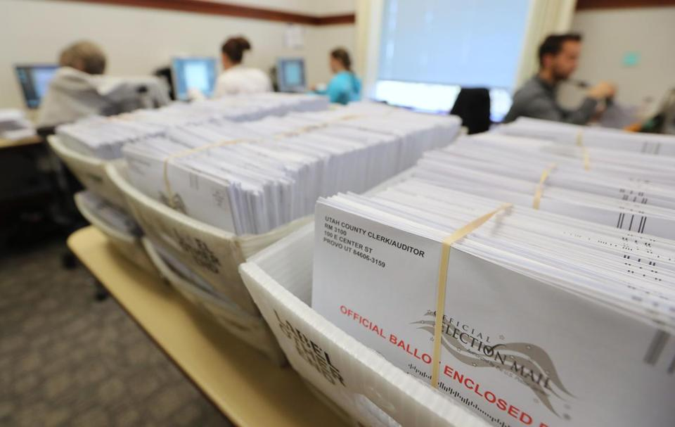 PROVO, UT - NOVEMBER 6: Thousands of ballots sit in boxes as Utah County election workers process the mail-in ballots for the midterm elections on November 6, 2018 in Provo, Utah. Utah early voting has been highest ever in Utah's midterm elections. One of the main proportions on the ballet in Utah is whether Utah will legalize medical marijuana. (Photo by George Frey/Getty Images)