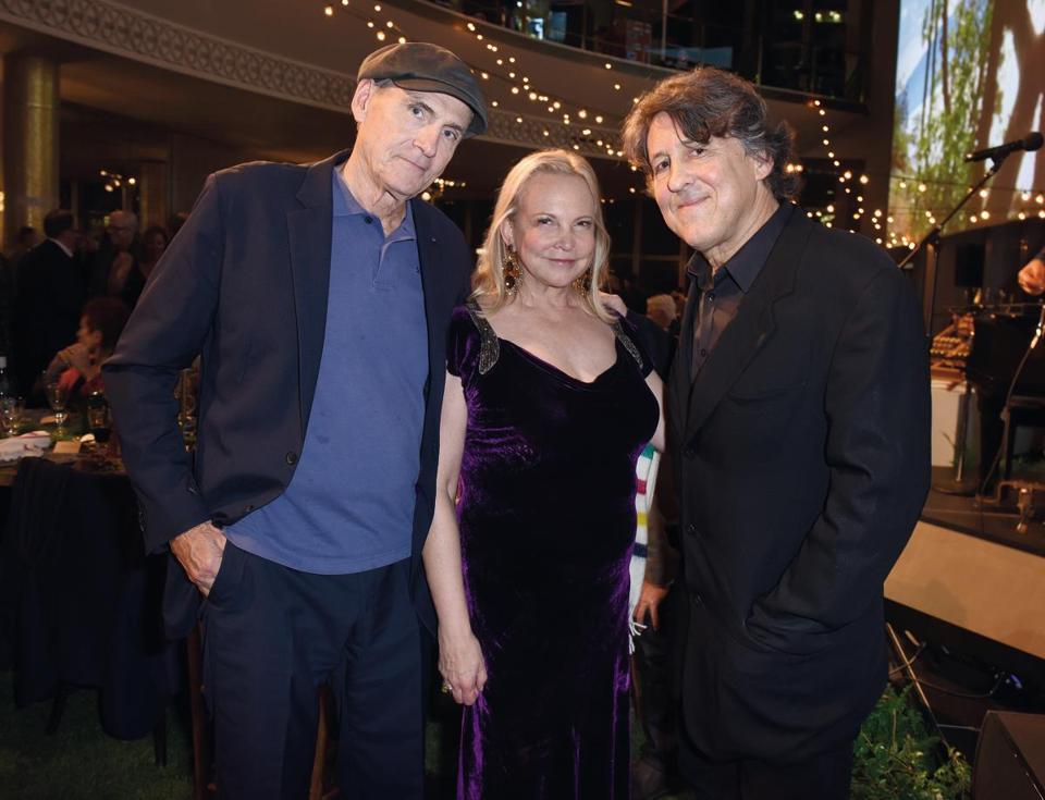 James Taylor, his wife Kim Taylor, and rock journalist Cameron Crowe attend Joni 75: A Birthday Celebration Live at the Dorothy Chandler Pavilion in Los Angeles