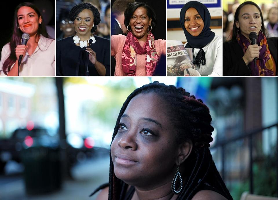 Former Vermont lawmaker Kiah Morris (bottom) and Election Night winners (top, left to right) Alexandria Ocasio-Cortez, Ayanna Pressley, Jahana Hayes Ilhan Omar, and Sharice Davids.