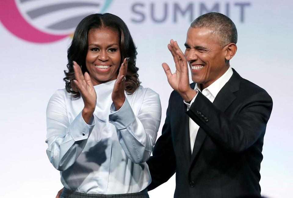 Michelle Obama and former president Barack Obama at the Obama Foundation Summit in Chicago in 2017.