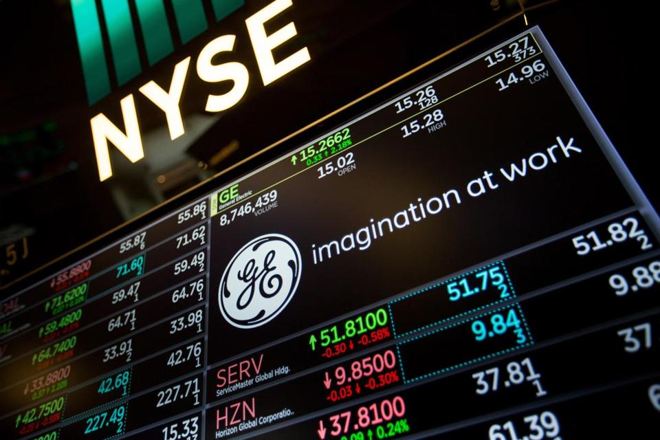 GE advertising at the New York Stock Exchange in March.