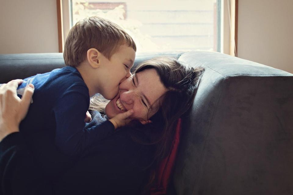 Dr. Pager with her son, Atticus, in their Cambridge home in 2016.