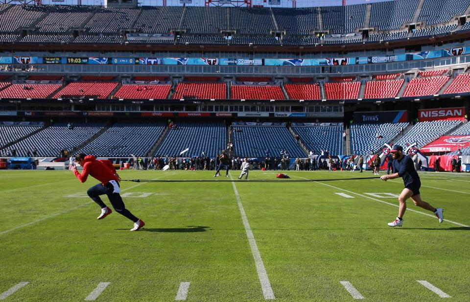 Nashville TN 11/11/18 New England Patriots Chris Hogan (left) and Julian Edelman warm up before they play the Tennessee Titans at Nissan Field. (photo by Matthew J. Lee/Globe staff) topic: reporter: