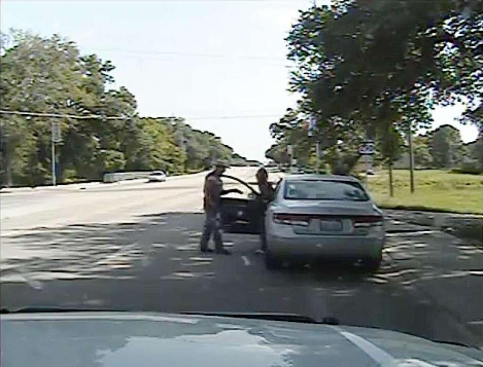 "Image of a fateful traffic stop from ""Say Her Name: The Life and Death of Sandra Bland."""