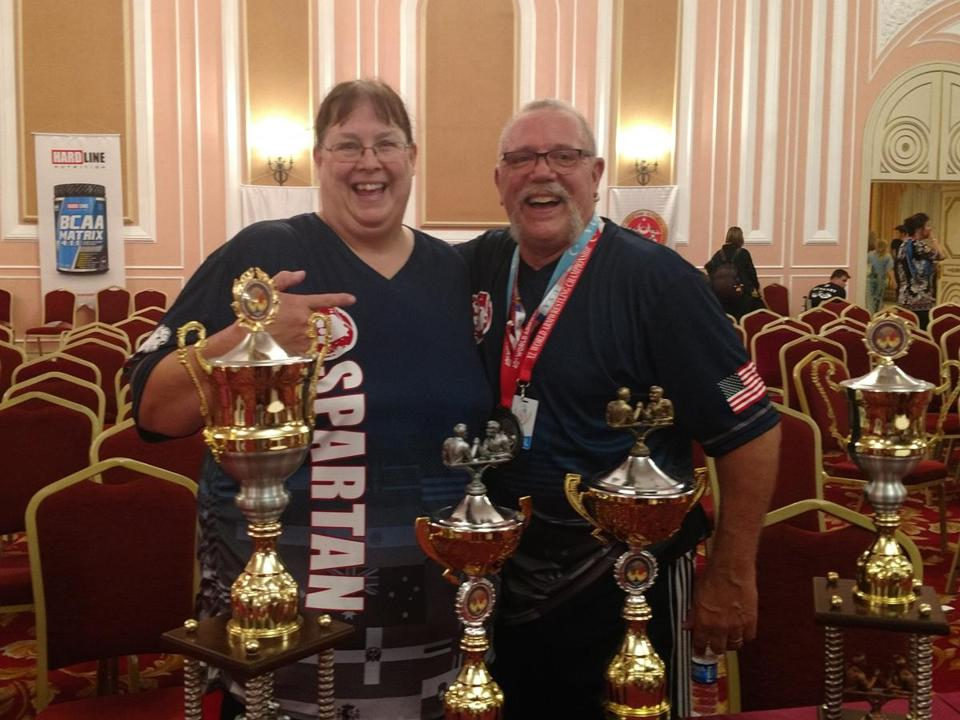 Cathy Merrill (left) traveled to Turkey with her coach to compete in the 2018 World Armwrestling Championships.