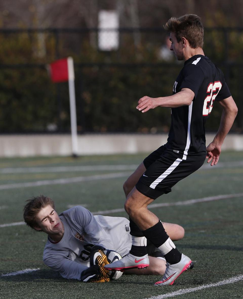 BC High keeper Cooper Robards stops the ball in front of Wellesley's Graham Raveret during the second half Monday.