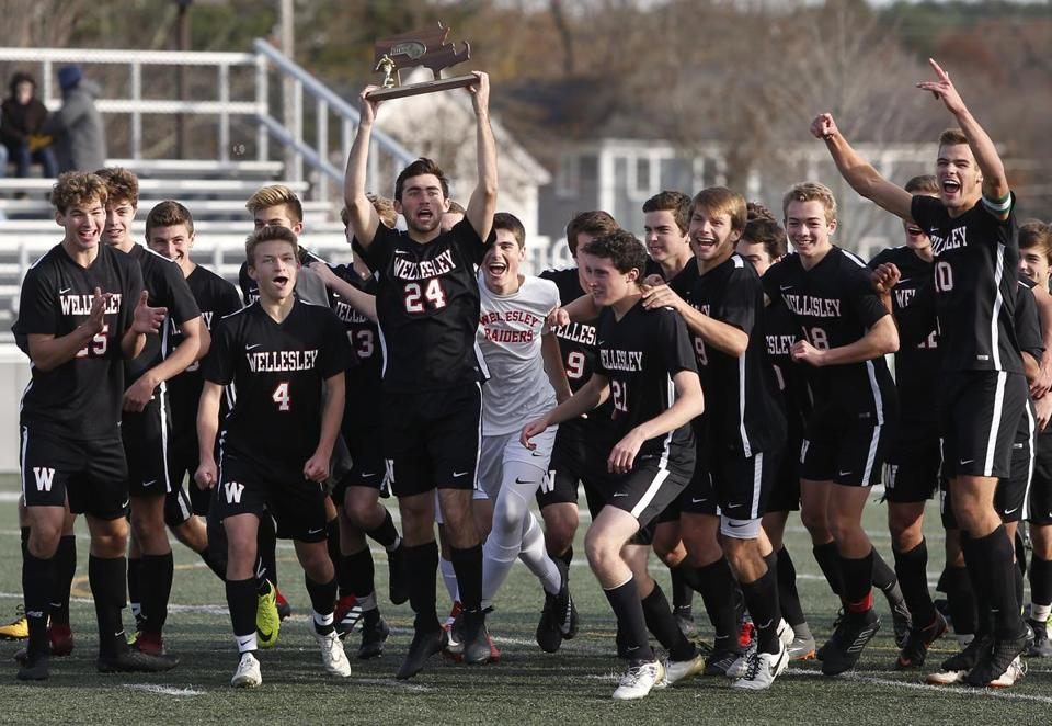 Wellesley players enjoy themselves after winning the Division 1 South soccer title.