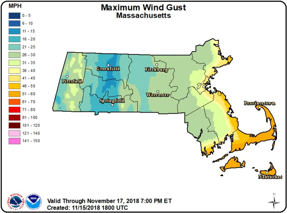 Winds will be gusty along the coast, especially southern areas.