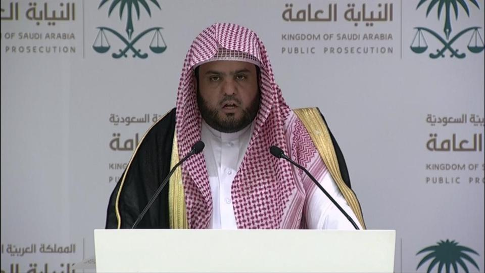 "An image grab taken from the Saudi Broadcast Authority (SBA) on November 15, 2018, shows Saudi's Deputy Public Prosecutor Shalaan al-Shalaan delivering a speech in Riyadh, in which he exonerated Crown Prince Mohammed bin Salman in the murder of journalist Jamal Khashoggi, and sought the death penalty for five Khashoggi murder accused. (Photo by HO / SAUDI BROADCAST AUTHORITY / AFP) / RESTRICTED TO EDITORIAL USE - MANDATORY CREDIT ""AFP PHOTO / SBA"" - NO MARKETING NO ADVERTISING CAMPAIGNS - DISTRIBUTED AS A SERVICE TO CLIENTSHO/AFP/Getty Images"