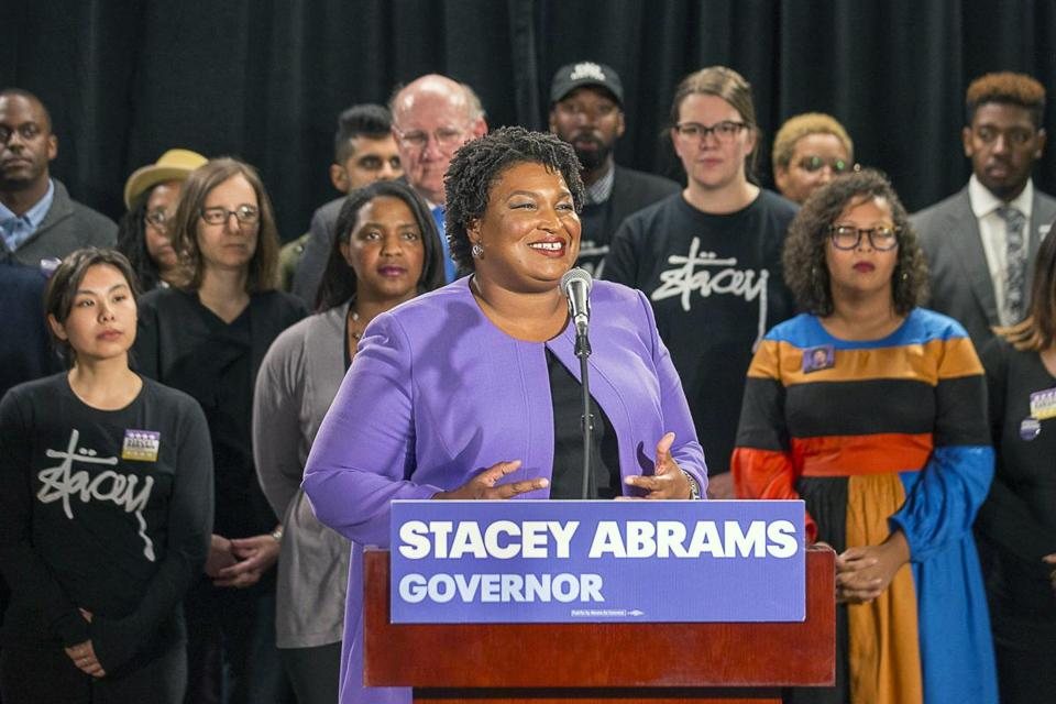"''This is not a speech of concession,"" Stacey Abrams said Friday."