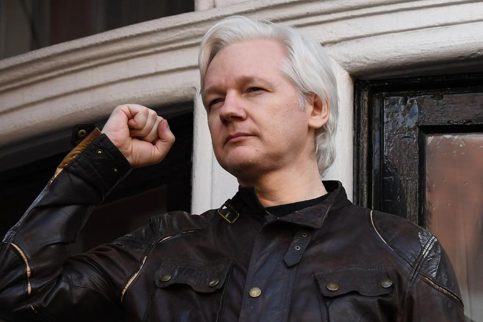 Wikileaks founder Julian Assange spoke on the balcony of the Embassy of Ecuador in London in May 2017.