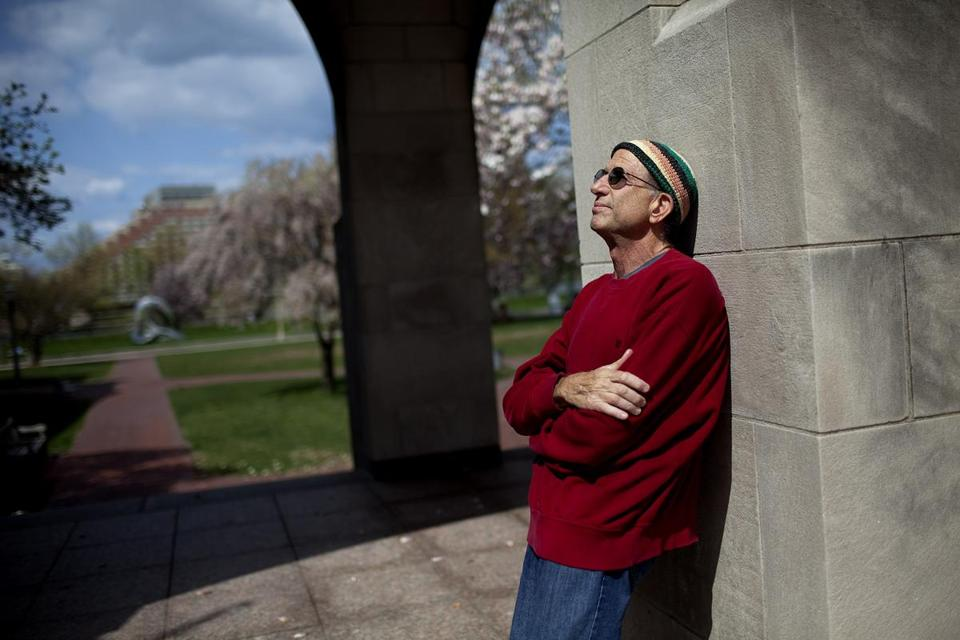 FOR METRO. Boston, MA 4/20/2010 Peter Simon (cq) is photographed outside of the Marsh Chapel at Boston University in Boston, MA on Tuesday, April 20, 2010. Photograph taken for a story about the class of 1970 who were unable to go to a graduation ceremony out of fear of violence. (Yoon S. Byun/Globe Staff) Section: METRO Slug: 25kentstate Reporter: Rosenberg (Steven) Library Tag 05032010