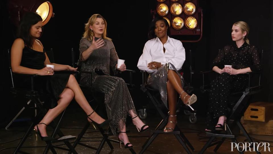 Gina Rodriguez, Ellen Pompeo, Gabrielle Union, and Emma Roberts during Net-A-PorterÕs Porter magazine roundtable interview, screenshot. (Net-A-Porter/Youtube)