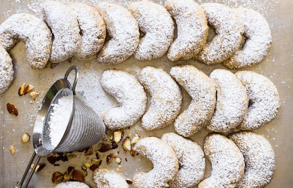 Viennese almond crescent cookies