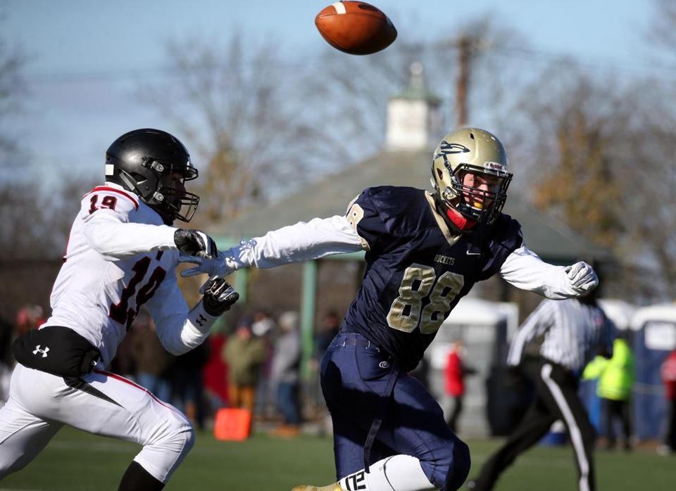 Needham, MA - November 22, 2018: Wellesley's Ben Buckley chases Needham's Jack Murmes during an incomplete pass during the 131st football game between Wellesley and Needham in Needham, MA on November 22, 2018. High temperatures are only expected to reach the low 20s across Massachusetts, according to the weather service, and the wind chill will make it feel much colder during the morning hours. (Craig F. Walker/Globe Staff) section: metro reporter: