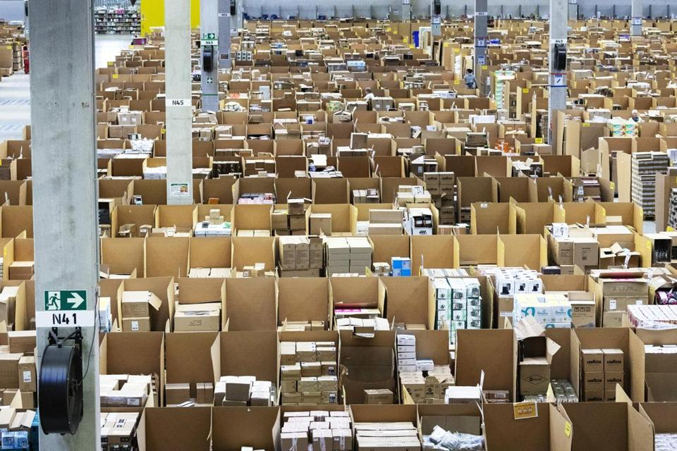 Boxes and parcels were stacked in bays ahead of shipping at an Amazon.com fulfilment center in Koblenz, Germany, Friday.